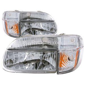 Airstream Land Yacht Diamond Clear Chrome Headlights & Signal Lamps 4 Piece Set (Left & Right)